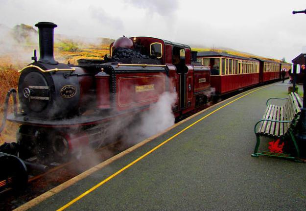 2011 02 24 Welsh Highland Railway  Rhyd Ddu  Merddin Emrys admires Snowdon